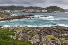Rocky beach in the Galician littoral Royalty Free Stock Images