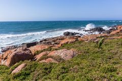 Rocky Beach Grass Ocean Coastline. Rocky beach grass summer ocean waves summer coastline landscape Royalty Free Stock Images