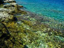 Rocky beach and green water. Clear azur, turquoise water. Environment Royalty Free Stock Photos