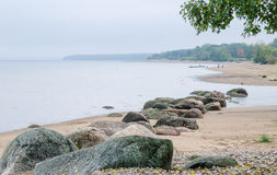 Rocky beach on the Gulf of Finland.  Estonia. Rocky beach on the Gulf of Finland. Sillamae, Estonia Stock Image