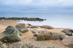 Rocky beach on the Gulf of Finland.  Estonia. Rocky beach on the Gulf of Finland. Sillamae, Estonia Royalty Free Stock Photography