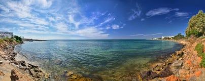 Rocky beach, Hammamet, Tunisia, Mediterranean Sea, Africa, HDR P Royalty Free Stock Images