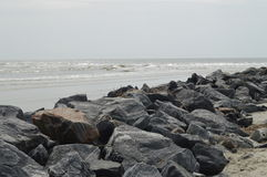 Rocky beach in Hilton Head Island, South Carolina Stock Image