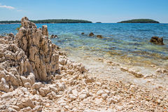 Rocky beach in Istria, Croatia Royalty Free Stock Photo
