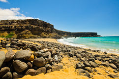 Rocky Beach. Lagoon on the north coast of Fuerteventura, Canary Islands, Spain Stock Photos