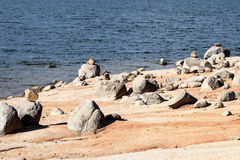 Rocky beach on the Lake Jindabyne foreshore. Rocky beach on the foreshore of Lake Jindabyne, featured in the background Royalty Free Stock Photography