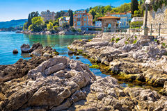 Rocky beach on Lungomare walkway in Opatija Stock Photography