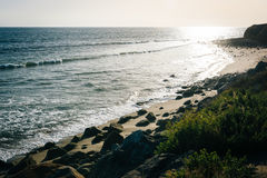 A rocky beach in Malibu, California. Stock Photo