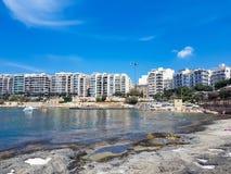 A rocky beach in Malta. royalty free stock photo