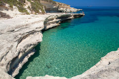Rocky beach in Malta. St. Peters pool - rocky beach at Malta Royalty Free Stock Images