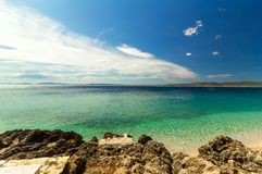 Rocky beach on the Mediterranean Sea, landscape Royalty Free Stock Photos