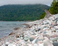 Rocky Beach on a Misty Day royalty free stock photography