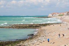 Rocky beach near Audresselles Stock Photos