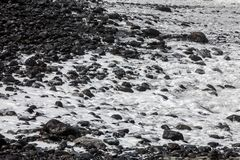 A rocky beach on the north coast of Madeira. Portugal royalty free stock photography