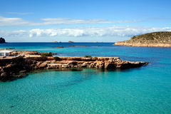 Rocky beach and ocean view. Rocky beach and turquoise blue ocean view on the island of Ibiza, the third largest of the Balearic Island chain in Spain Royalty Free Stock Image