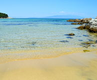 Rocky beach. Photo of a beach in Greece stock photography