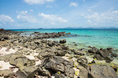 Rocky beach. A photo of rocky beach on kai island in pang-nga province southern thailand Royalty Free Stock Photos