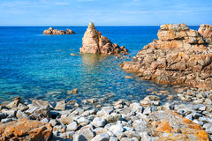 Rocky beach on Pink Granite Coast, Brittany, France Royalty Free Stock Images