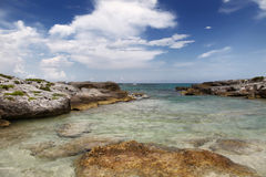 Rocky beach. In Riviera Maya, Mexico Royalty Free Stock Images
