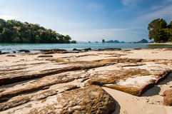 Rocky beach in southern Thailand. View from Khlong Muang Beach in Krabi, southern Thailand Stock Photography