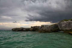 Rocky beach. Stormy weather on a rocky beach in Riviera Maya Stock Photography