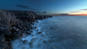 A rocky beach. A sunset on a rocky beach in Iceland Royalty Free Stock Photography