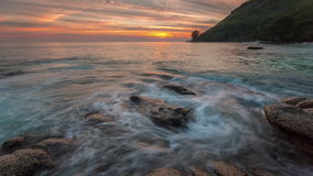 Rocky beach sunset panorama phuket island 4k time lapse thailand. Thailand rocky beach sunset panorama phuket island 4k time lapse stock video