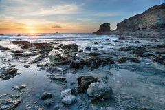 Rocky Beach Sunset Stock Images