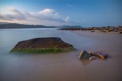Rocky Beach Ving Lam Bay Vietnam Stock Image