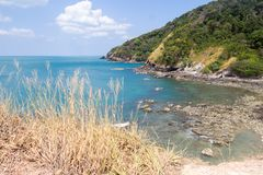 Rocky beach in Waterfall Bay, Koh Lanta,. Krabi, Thailand stock photography