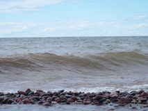 Rocky Beach and Waves Lake Superior Nature Photograph Outdoor. Rocky Pebble Beach and waves of Lake Superior nature photograph Stock Photo