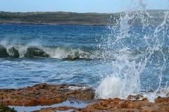 Rocky Beaches av Malta i vinter Fotografering för Bildbyråer