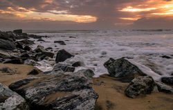 Rocky Beaches and Sea Waves Royalty Free Stock Images
