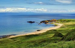 Rocky and Beautiful Whitepark Bay, Antrim Coast Stock Image