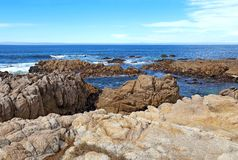 Rocky bluffs and tide pools at Asilomar State beach Stock Photo