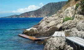 Rocky Boardwalk. Precarious walkway along the Croatian coast Royalty Free Stock Photography