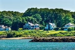 Rocky Breakwater Entrance Padnaram Harbor abriga Dartmouth Massa fotos de stock royalty free