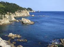 rocky brzegu oceanu spokojnego Obrazy Royalty Free