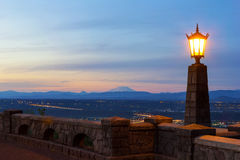 Rocky Butte Viewpoint at Sunset in Portland Oregon at sunser Royalty Free Stock Images