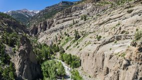 Rocky Canyon River Gorge in Wyoming Stockfotos