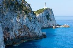 Rocky cape of Lefkas island (Greece). Rocky south cape of Lefkas island and lighthouse (Greece, Ionian Sea Royalty Free Stock Photo