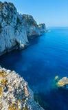 Rocky cape of Lefkas island (Greece). Rocky south cape of Lefkas island and lighthouse (Greece, Ionian Sea Stock Photography