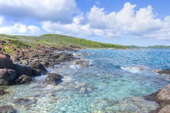 Rocky Caribbean-Inselküstenlinie Stockbilder