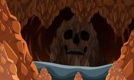 Rocky Cave spaventoso nello scuro Fotografia Stock