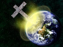 Rocky Christian cross colliding with earth. A metaphorical image depicting the impact of religion. Earth image by Visible Earth, NASA vector illustration