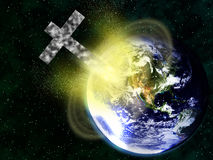 Rocky Christian cross colliding with earth Stock Photo