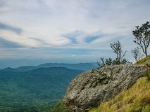 Rocky cliff with beautiful View from Khao Luang mountain in Ramkhamhaeng National Park. Sukhothai province Thailand royalty free stock photography