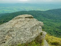 Rocky cliff with beautiful View from Khao Luang mountain in Ramkhamhaeng National Park. Sukhothai province Thailand stock image