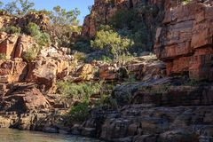 Rocky cliff face at Katherine River Gorge in Australia Stock Image