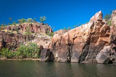 Rocky cliff face at Katherine Gorge, Northern Territory, Australia. Stock Images